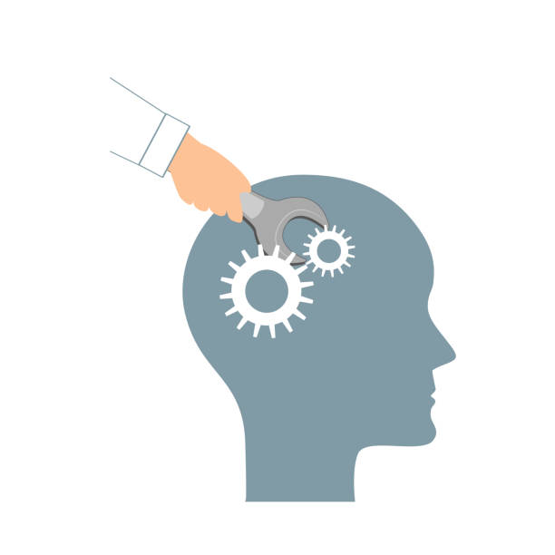 NLP or Neuro-Linguistic Programming concept. Open Human Head and a Hand with a Wrench. Manipulation, Mental health, personal development, and psychotherapy icon. vector art illustration