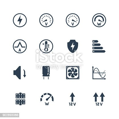 PSU or power supply unit for desktop computer vector icon set. Protections and features