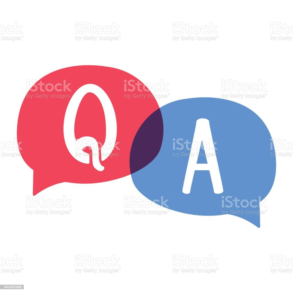 Q & A or question and answer. Speech bubble vector illustration on white background.