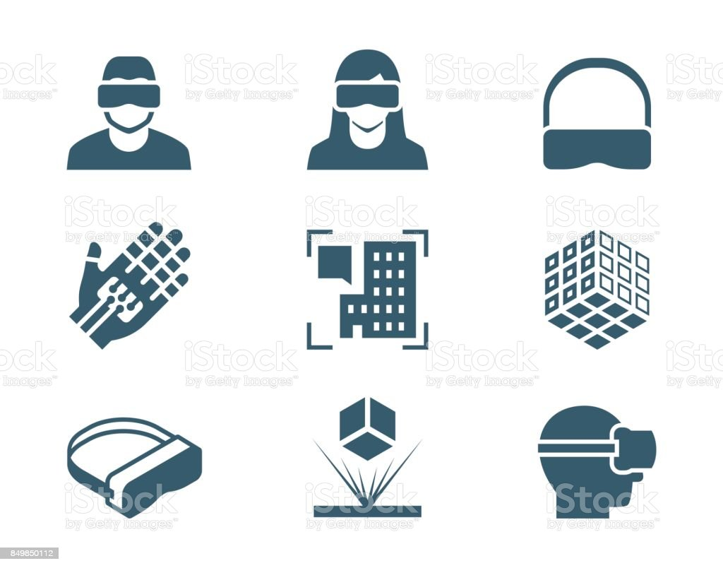 VR or virtual reality, augmented reality and hologram technology vector icon set vector art illustration