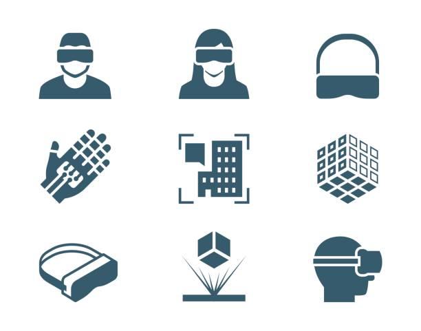 VR oder virtual Reality, augmented-Reality und Hologramm-Technologie Vektor Icon-set – Vektorgrafik