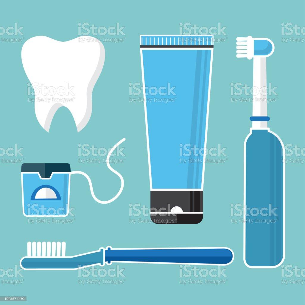 9558725b3 Vetor de Higiene Oral E Higiene Escovar Os Dentes Conjunto De ...