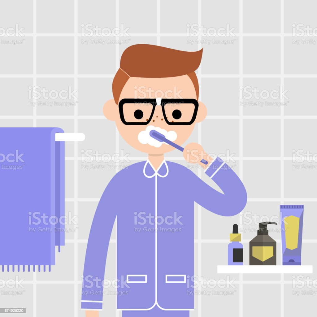 Oral care. Daily routine. Young character brushing teeth in front of mirror in a bathroom. Domestic life. Morning hygiene. Flat vector illustration, clip art. Bathroom interior. Healthy habits. vector art illustration