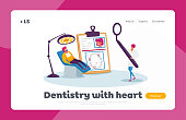 Oral Check Up or Treatment Landing Page Template. Woman Patient Character Lying in Medical Chair in Stomatologist Cabinet. Tiny Doctor Dentist with Huge Mirror. Cartoon People Vector Illustration