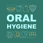 Oral hygiene word concepts banner. Dental clinic. Healthy teeth. Stomatology. Presentation, website. Isolated lettering typography idea with linear icons. Vector outline illustration