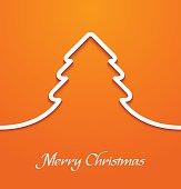 Orange abstract christmas tree applique
