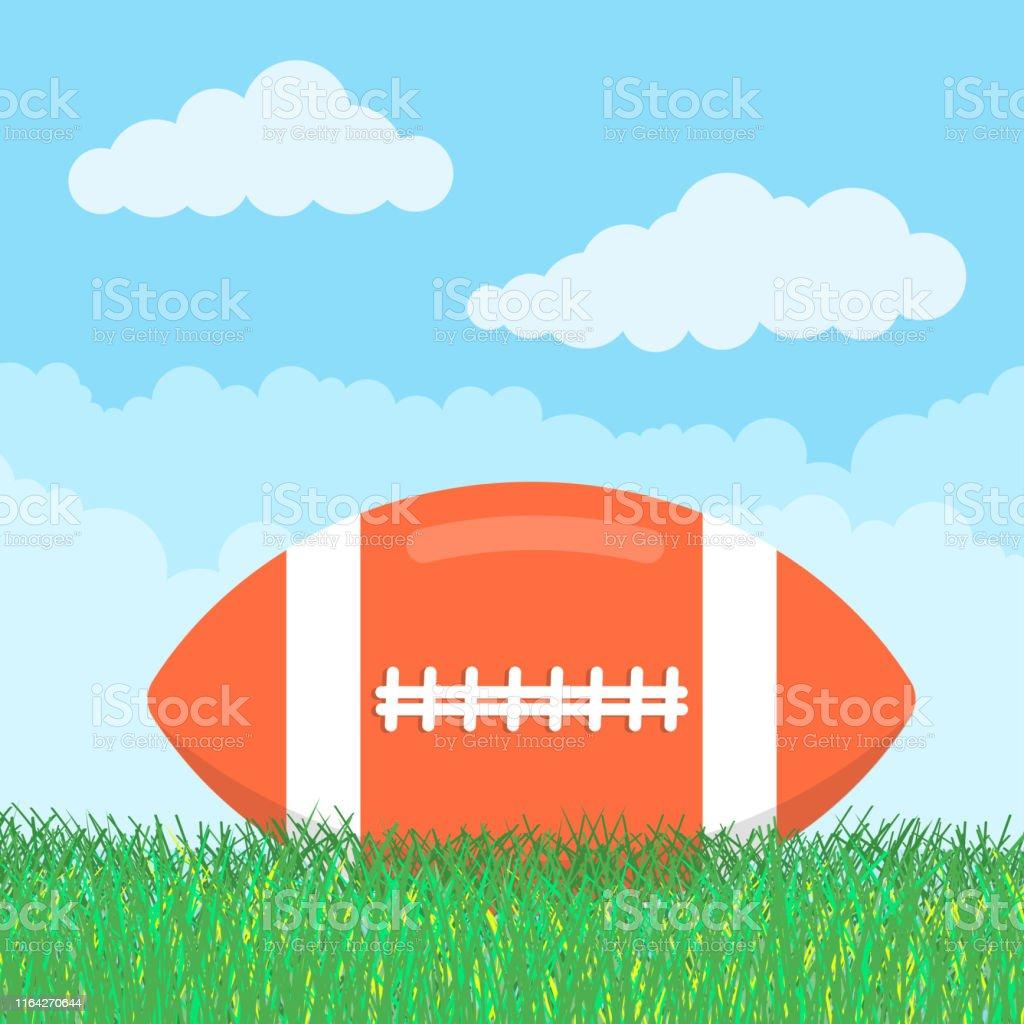 Orange american football ball lie on the green grass flat style...