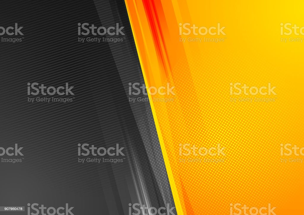 Orange and black abstract tech grunge background vector art illustration