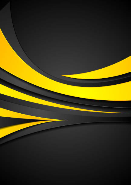 Orange and black abstract wavy corporate background vector art illustration
