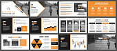 Orange and black business presentation slides templates from infographic elements. Can be used for presentation, flyer and leaflet, brochure, marketing, advertising, annual report, banner, booklet.