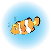 Orange and black Clown fish in cartoon style. Clownfish sea animal vector illustration.