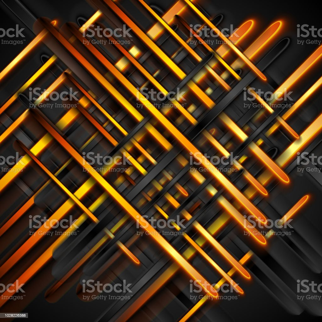 Orange and black glossy stripes abstract background vector art illustration