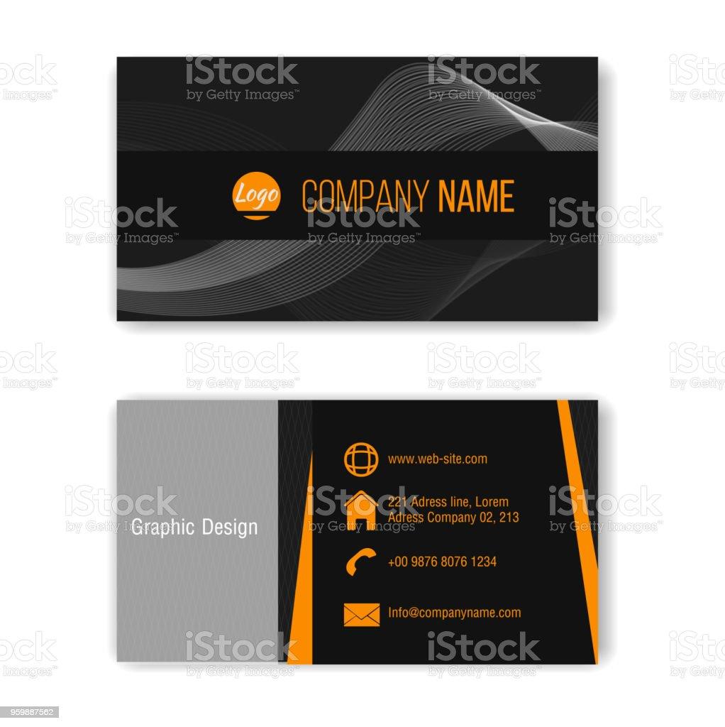 Orange Et Noir Creative Moderne Propre Modele De Carte Visite Sur Un Fond Transparent