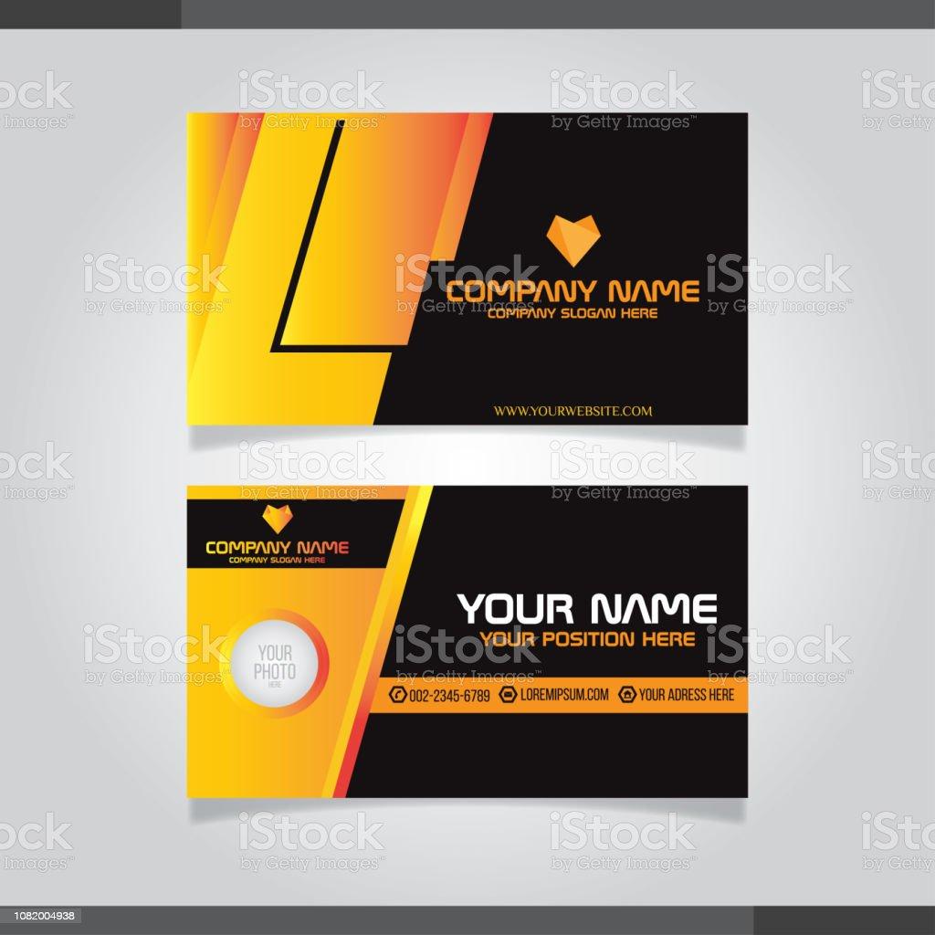 Orange Und Schwarz Moderne Kreative Visitenkarte Und