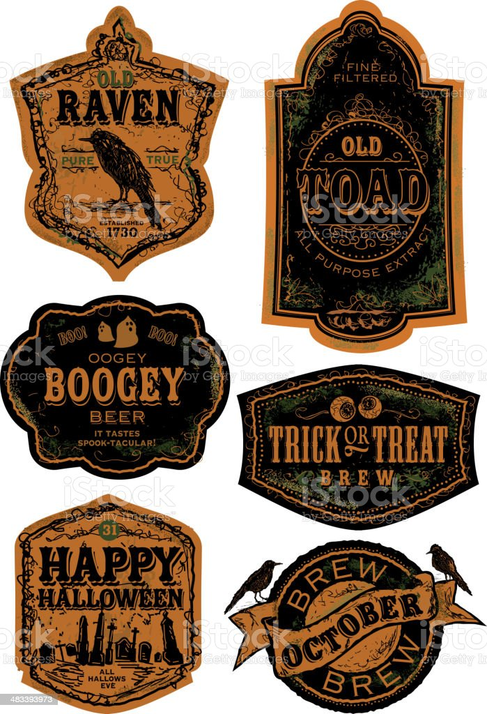 Orange and black Set of old fashioned Halloween beer labels royalty-free orange and black set of old fashioned halloween beer labels stock vector art & more images of alcohol