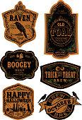 Orange and black Set of old fashioned Halloween beer labels