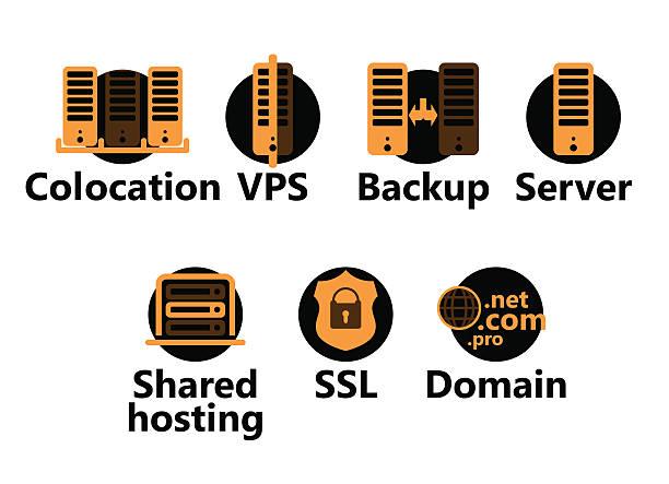Orange and black technology icons vector art illustration