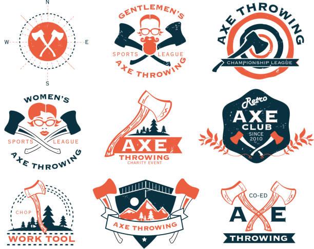 illustrations, cliparts, dessins animés et icônes de orange et bleu, le lancer de hache ensemble d'étiquettes ou badges - man axe wood