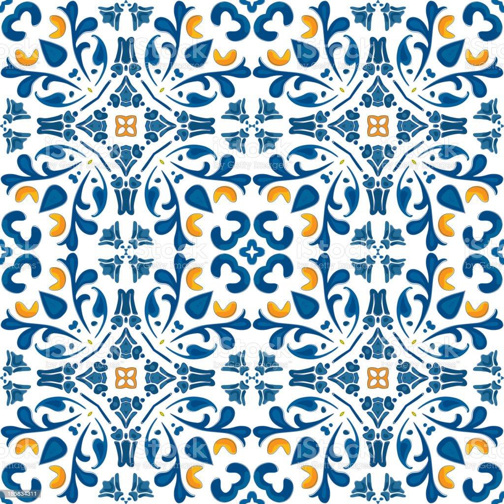 Orange and blue Portuguese tile design vector art illustration