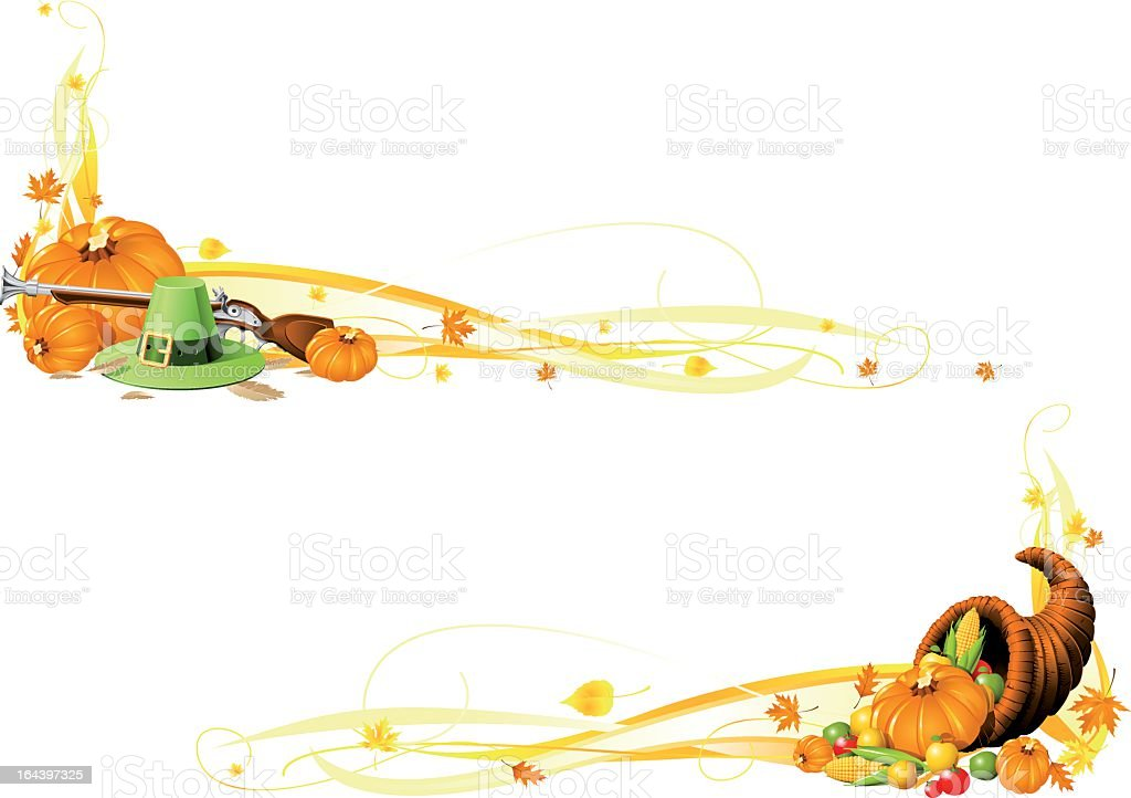 Orange and brown thanksgiving banners on a white background royalty-free stock vector art