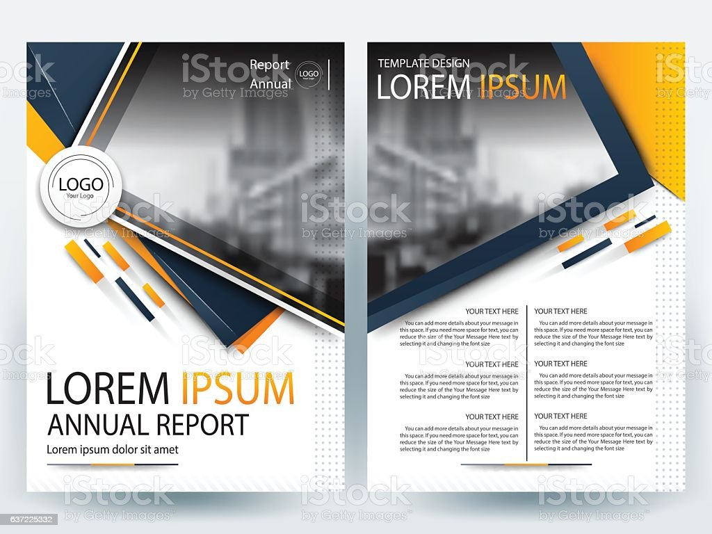orange and dark blue brochure design templates layout vector