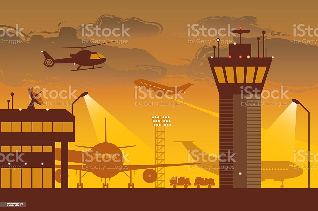 Orange and gray vector image of a busy airport royalty-free stock vector art