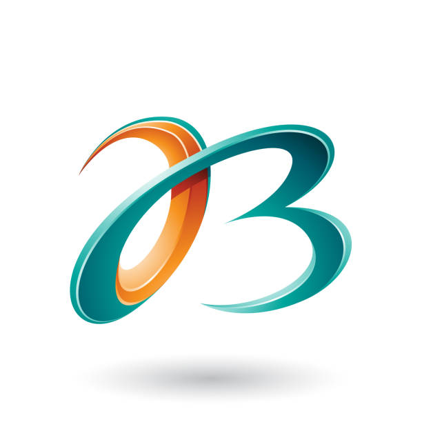 orange and green 3d curly letters a and b vector illustration - alphabet clipart stock illustrations