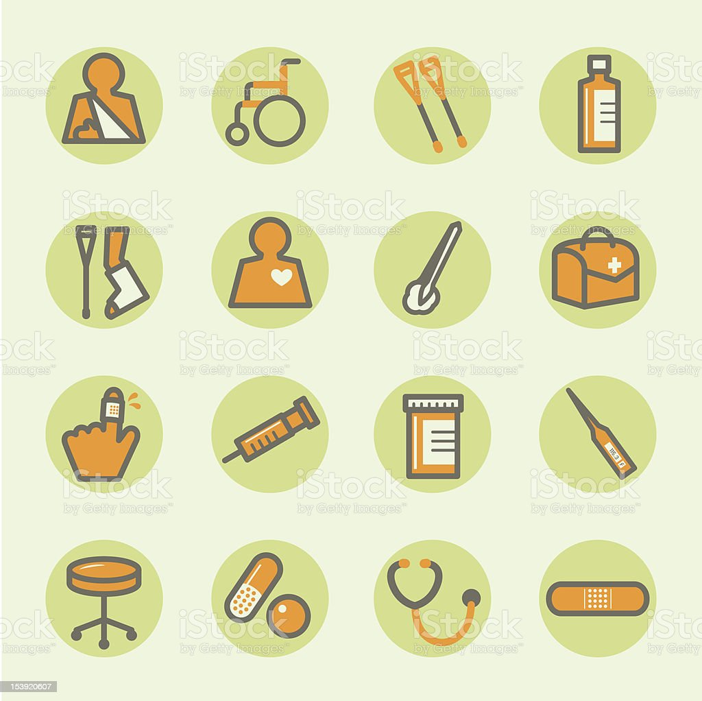 Orange and green medical icons arranged in a 4x4 grid vector art illustration