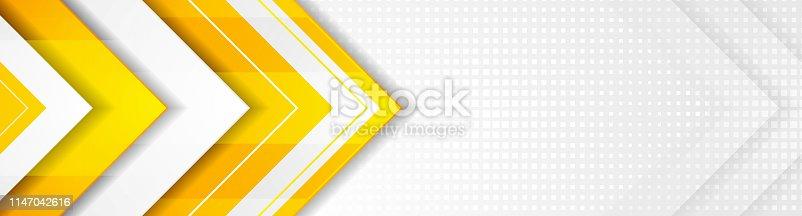 Orange and grey geometric hi-tech arrows corporate banner design. Vector background