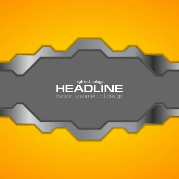 Orange and grey metallic tech background vector art illustration
