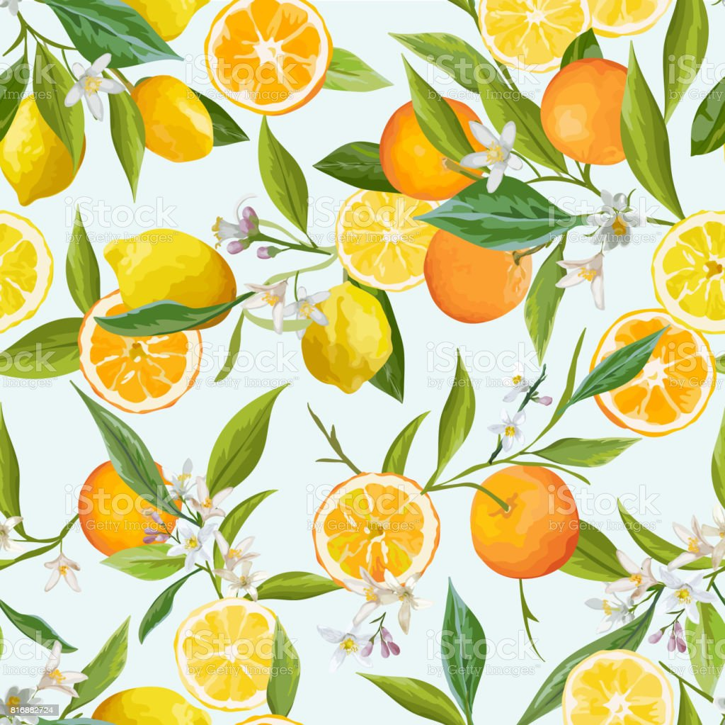 Orange and Lemon Seamless Tropical Pattern in Vector. Illustration of Flowers, Leaves and Fruits. vector art illustration
