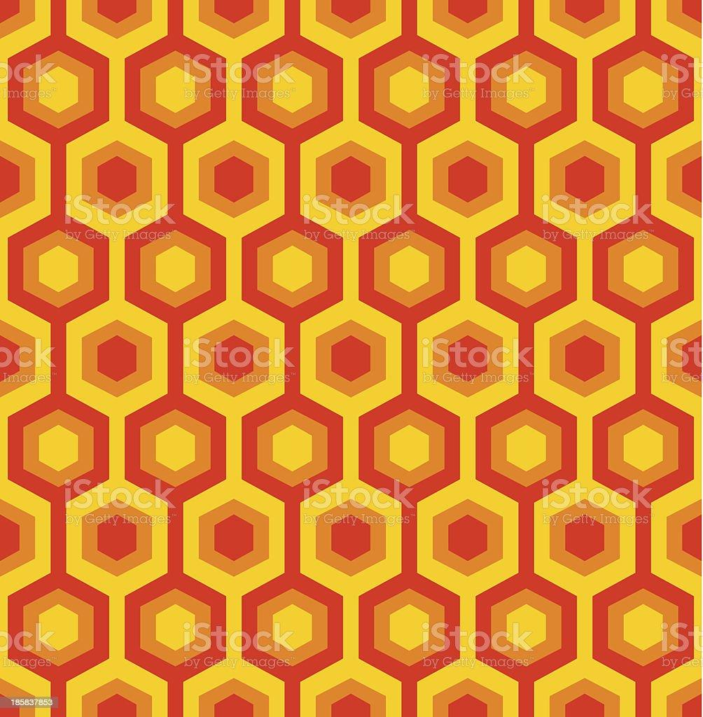 Orange and red seamless hexagon patter vector art illustration