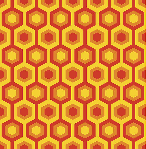 orange and red seamless hexagon patter - 1940s style stock illustrations