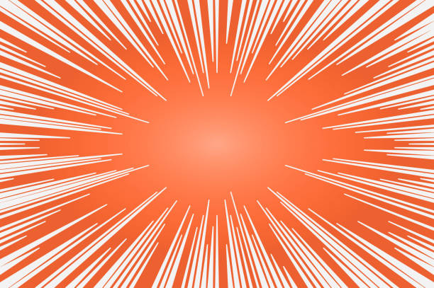 Orange and white radial lines comics style backround. Manga action, speed abstract. Vector illustration vector art illustration