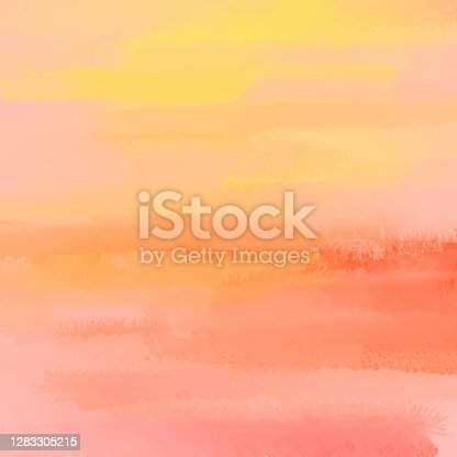 istock Orange and Yellow Abstract Wall Texture with Color Brush Strokes. Pastel Colored Abstract Watercolor Brush Strokes Background. Grunge, Graffiti, Paint, Watercolor, Sketch. Grunge Vector Background. 1283305215