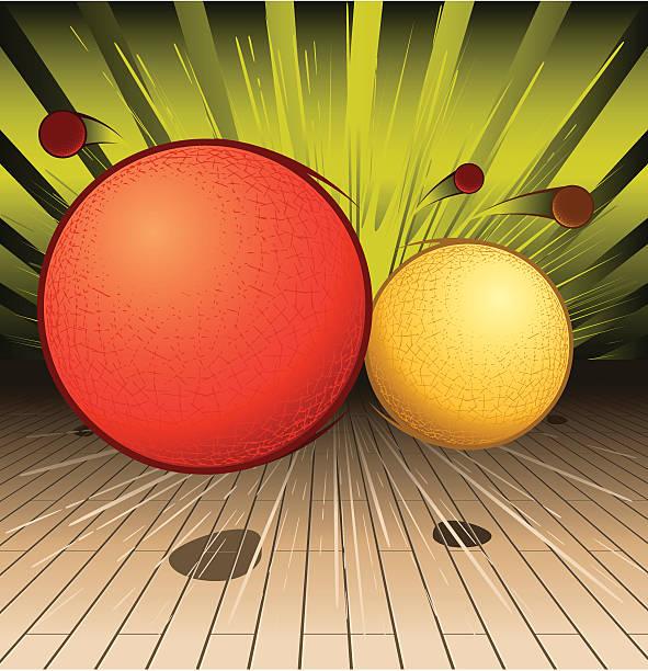 Orange and yellow animated balls vector art illustration