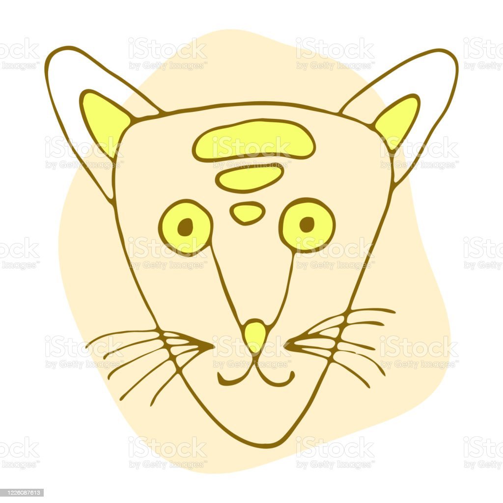 Orange And Yellow Cute Cat In Doodle Style Isolated On White Background Vector Stock Illustration Hand Drawing Line Art Image Design Concept For Cat Cafe Children Print Stock Illustration Download Image