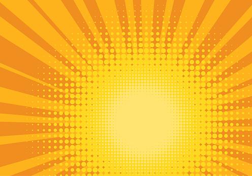 Orange And Yellow Pop Art Background - Stockowe grafiki wektorowe i więcej obrazów Abstrakcja
