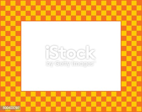 Vector illustration of an orange and golden yellow checkered frame.