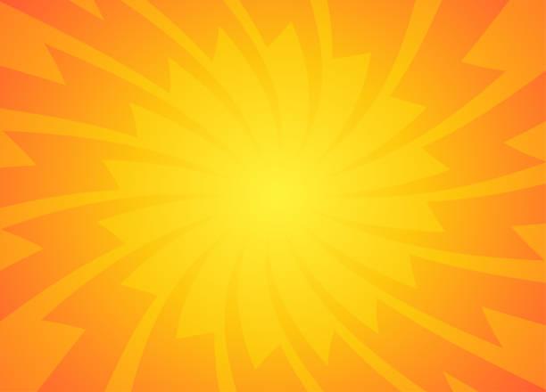 bildbanksillustrationer, clip art samt tecknat material och ikoner med orange och gult solens strålar bakgrund - nöje