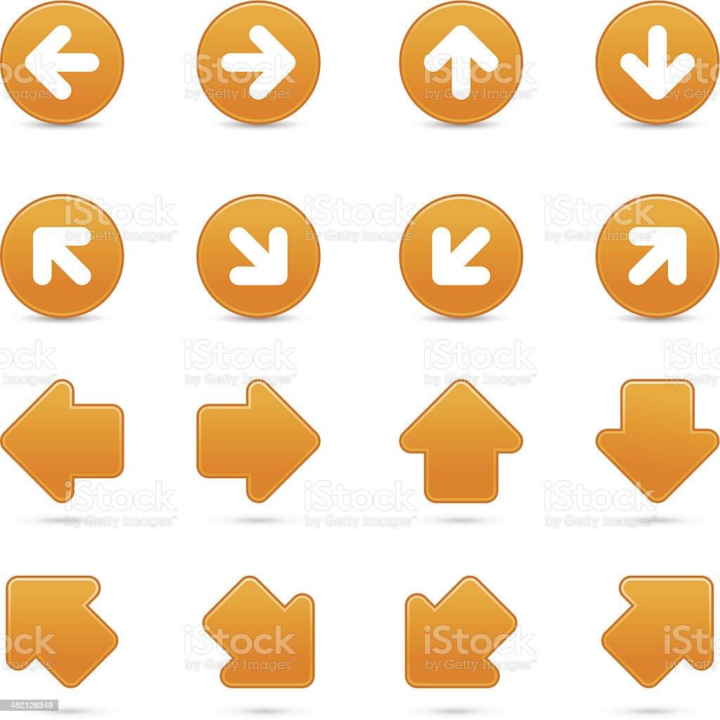Orange arrow sign direction icon navigation button gray shadow royalty-free stock vector art