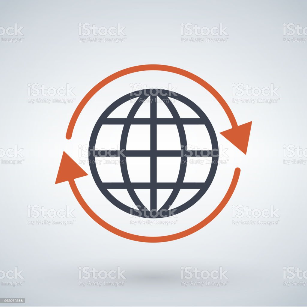 orange arrows around planet earth globe, vector illustration isolated on white background. royalty-free orange arrows around planet earth globe vector illustration isolated on white background stock vector art & more images of abstract