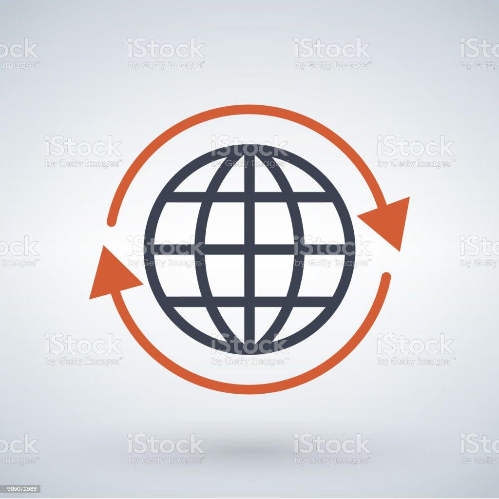 orange arrows around planet earth globe, vector illustration isolated on white background. orange arrows around planet earth globe vector illustration isolated on white background - stockowe grafiki wektorowe i więcej obrazów abstrakcja royalty-free