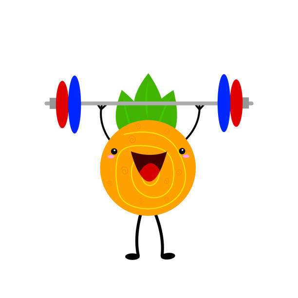 Orange athlete cartoon character holding a barbell over his head vector art illustration