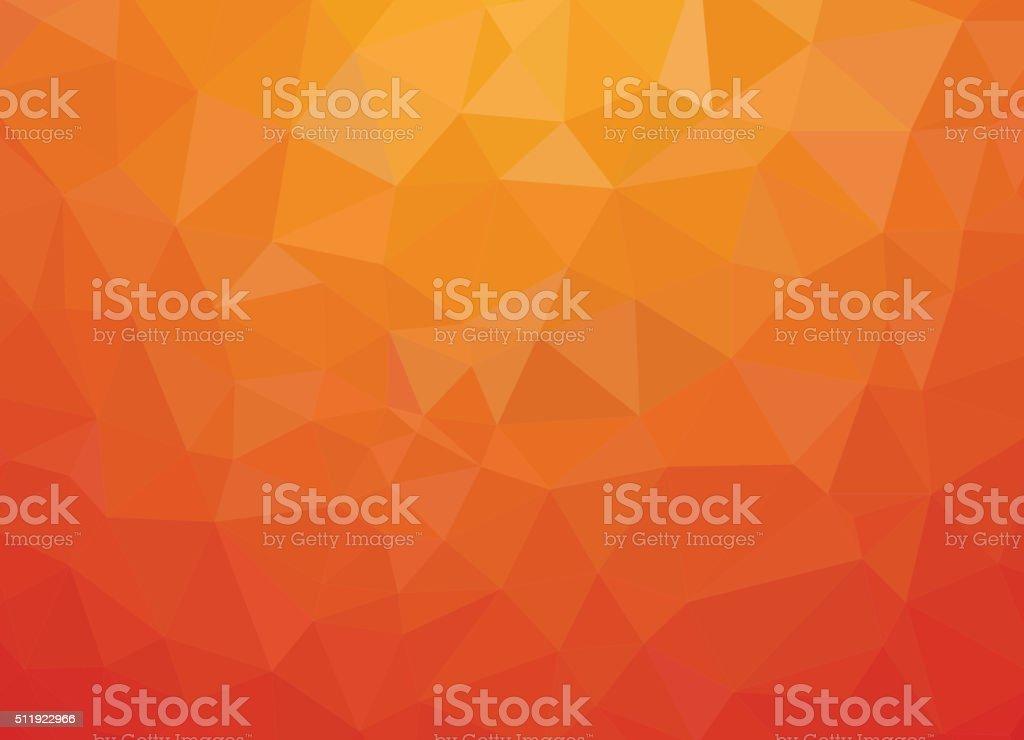 orange background. Low-poly triangular style vector art illustration