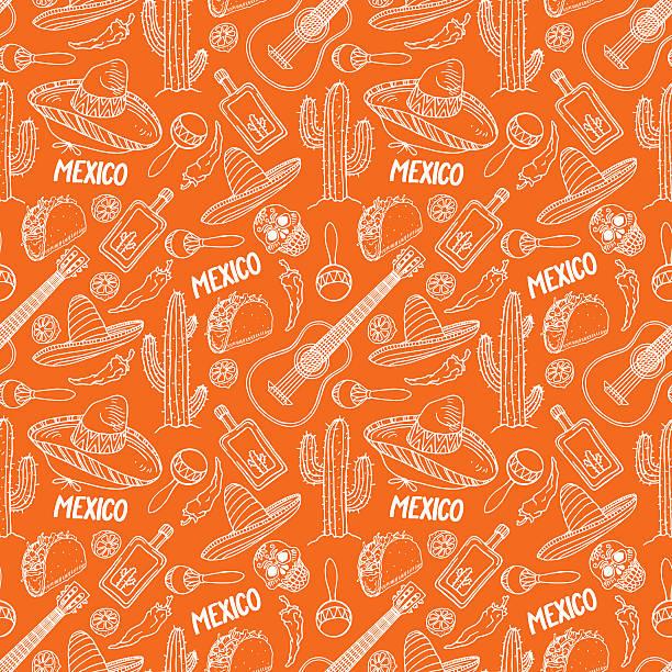 bildbanksillustrationer, clip art samt tecknat material och ikoner med orange background of mexican items - cactus lime