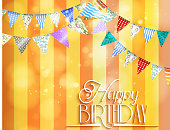 Illustration of Orange background with bunting for celebrations of birthday