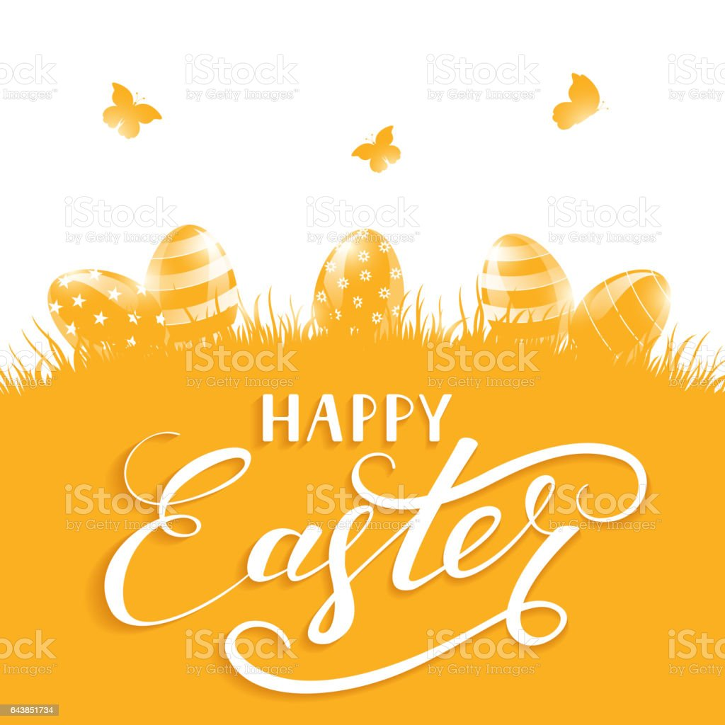 Orange background with Easter eggs and butterflies vector art illustration