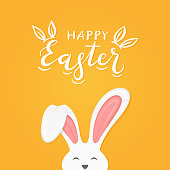 Cute Easter rabbit with ears and lettering Happy Easter on orange background, illustration.