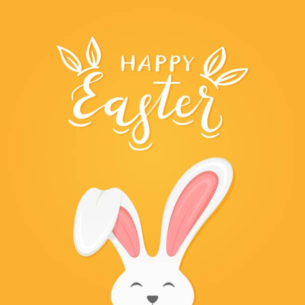 illustrazioni stock, clip art, cartoni animati e icone di tendenza di orange background with text happy easter and rabbit ears - pasqua